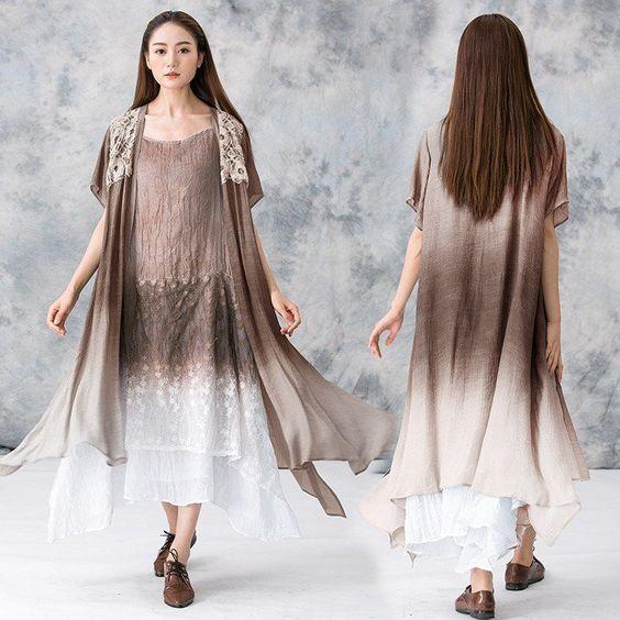 Women Summer plus size cotton dress (coat and vest dress) | Linen