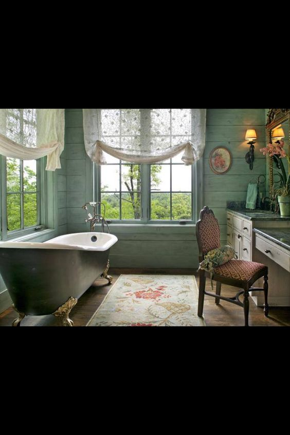 Master Bath. Farmhouse feel.
