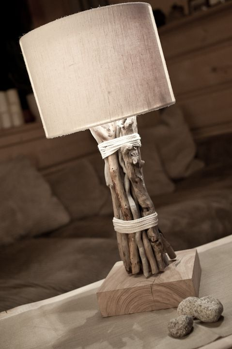 wooden lamp with linen shade: