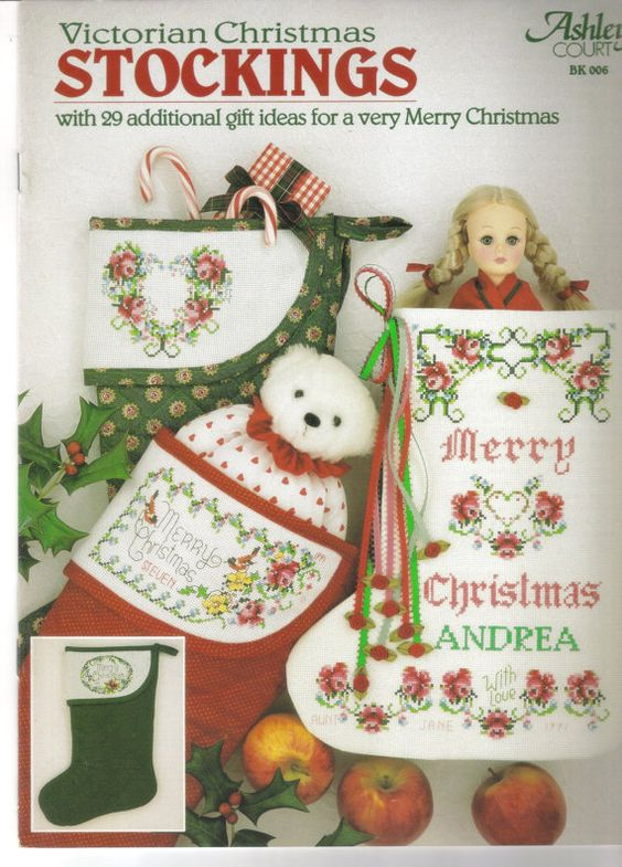 Victorian Christmas Stockings Cross Stitch by ShopHereVintage, $5.00