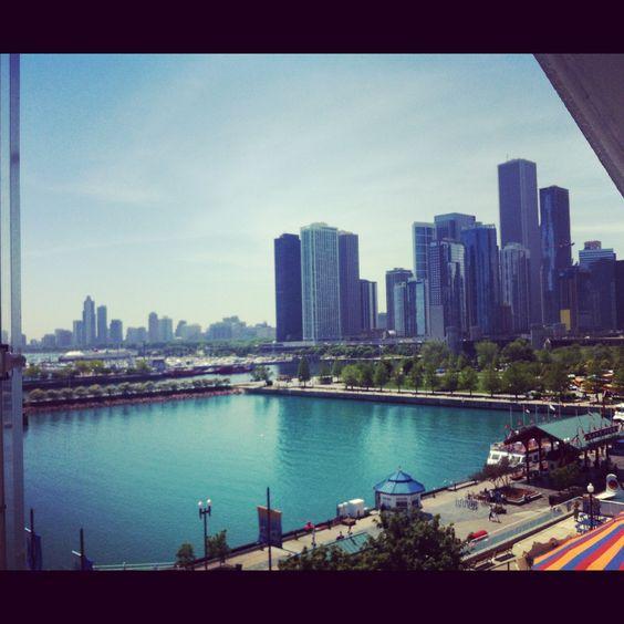 Ferris wheel, Chicago skyline, Navy Pier