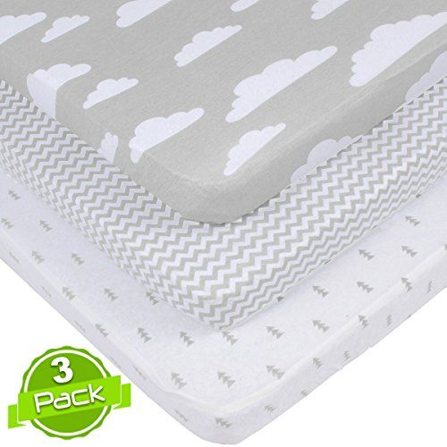 150 GSM Jersey Cotton Fitted Mini Crib Sheet Pack n Play Playard Portable Crib Sheets Set by BaeBae Goods 3 Pack 100/% Cotton Subtle Grey and White Designs