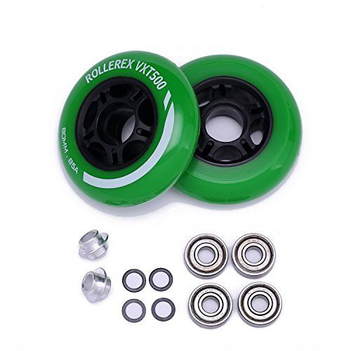 Rollerex VXT500 Inline Skate Wheels 2-Pack w//Bearings, spacers and washers