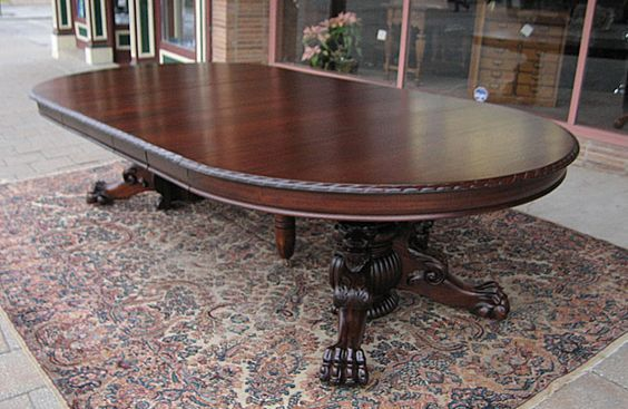 Ribbon Stripe Mahogany Lions Claw Foot Dining Table With Images
