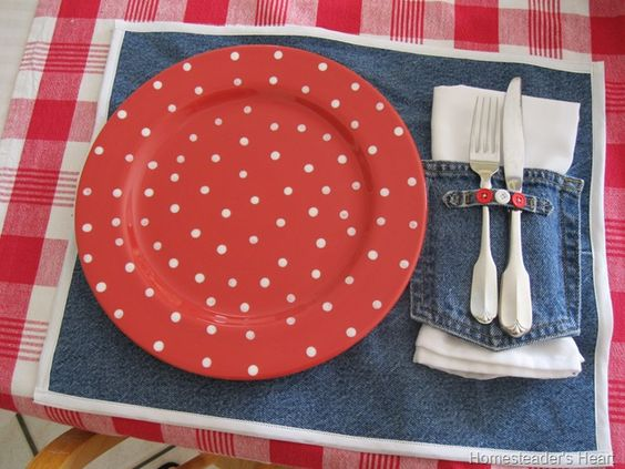 Denim Placemats Made From Jeans