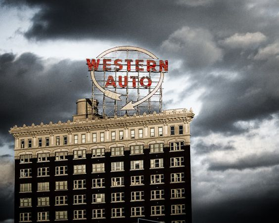 $180 Captured against a cloudy day in downtown Kansas City, MO, this Western Auto Building photo would make a great print for your home or office.
