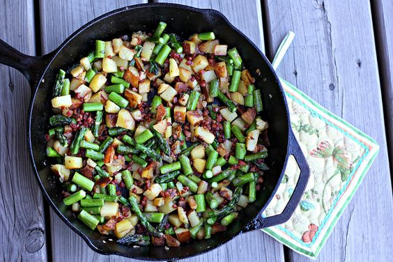 Asparagus Pancetta Hash by Elly Says Opa