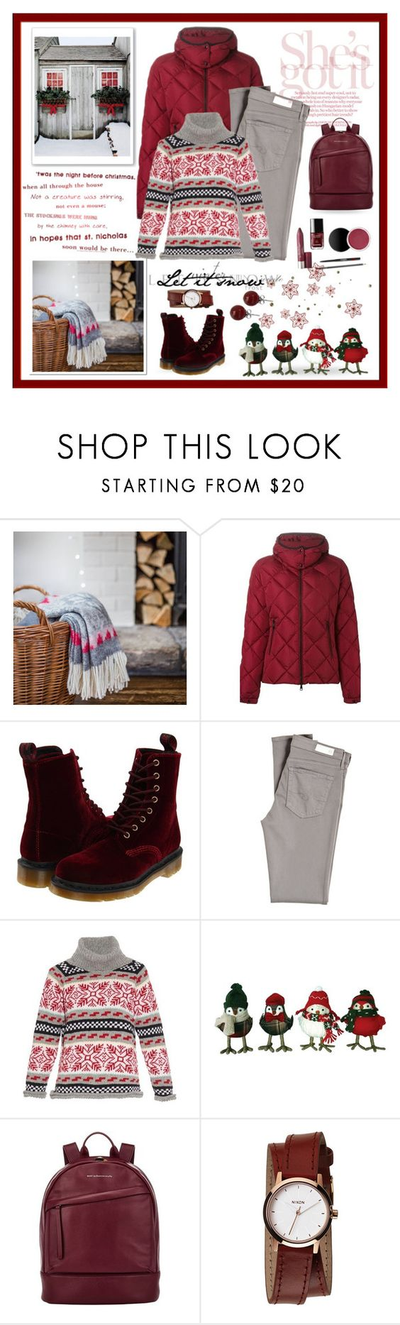 """Let it Snow"" by terry-tlc ❤ liked on Polyvore featuring Moncler, Dr. Martens, AG Adriano Goldschmied, Michaela Buerger, Want Les Essentiels de la Vie, Nixon and Lalique"