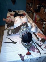 The making of Frankenstein at another pinners party. Great prop idea!