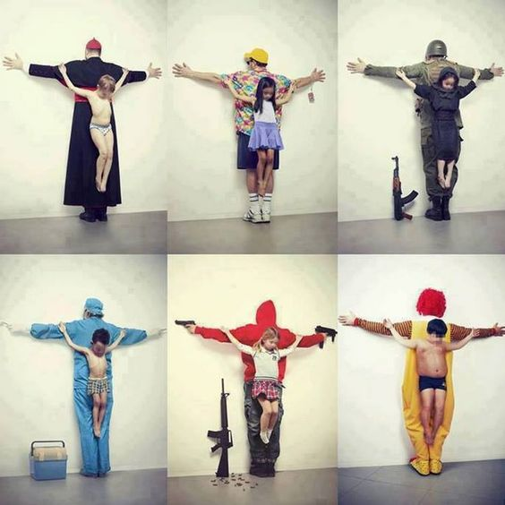 political art! Love this piece.  The first one, pedophiles in the catholic church, child prostitution in Thailand, child army recruitment in Syria, child organ trafficking, free guns in USA and child obesity.: