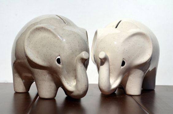 Piggy bank ceramic personalized large jumbo elephant coin bank cream or gray on etsy - Ceramic elephant piggy bank ...