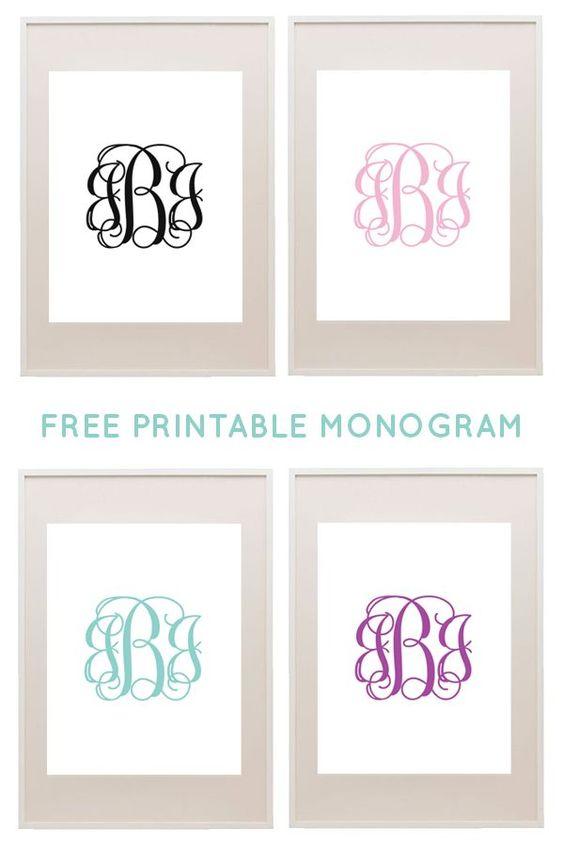 Rag rug diy free printable monogram and printable monogram on pinterest for Free printable monogram initials