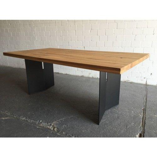 Esstisch Eiche massiv, Tisch Metall schwarz Tischplatte Eiche - esszimmer eiche massiv