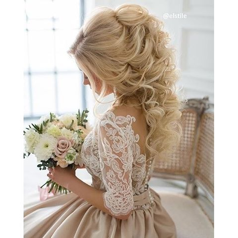 Just the loveliest look for her wedding day by @elstile. #bridalhair…