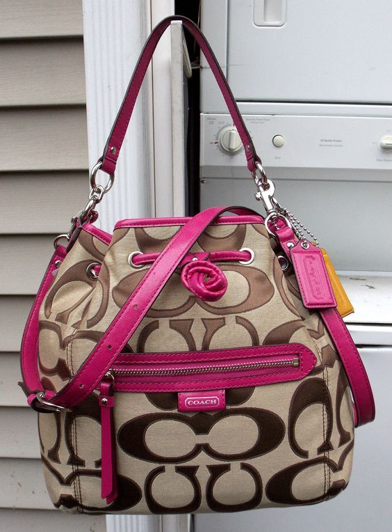 New Auth Coach Daisy Bright Magenta Khaki Outline Sig Drawstring Handbag 25675 | eBay