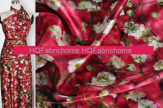 19 m/m, tissus élastiques satin en soie rouges, DIY tissu en soie, tissu de robe…