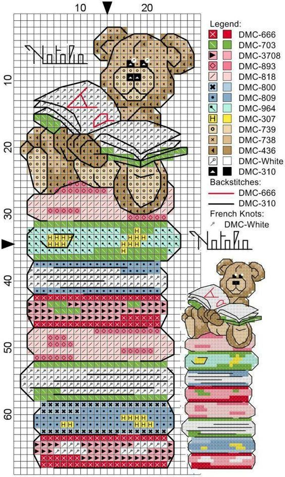 cross stitch bookmark - bear on stack of books: