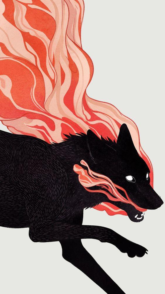 口から炎を吐くおしゃれでかっこいい犬の壁紙