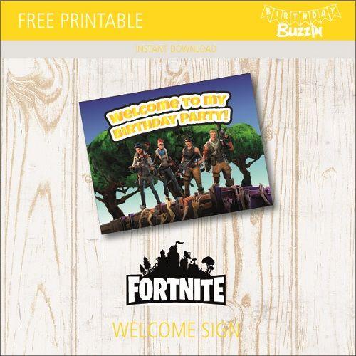 Free Printable Fortnite Welcome Sign Birthday Buzzin Birthday Party Printables Free Party Printables Free Party Printables