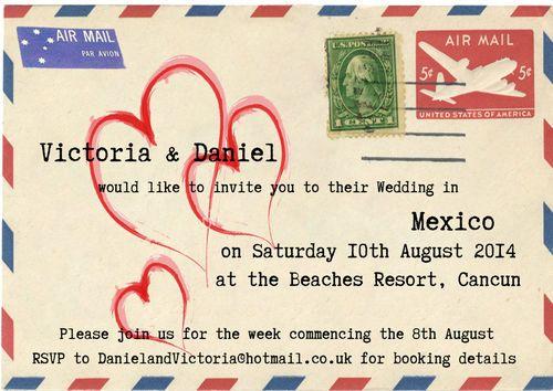 Personalised Vintage Envelope Overseas Destination Wedding Invitations