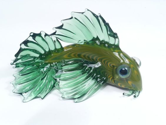 Glass koi fish green and yellow ready to ship yellow for Green koi fish