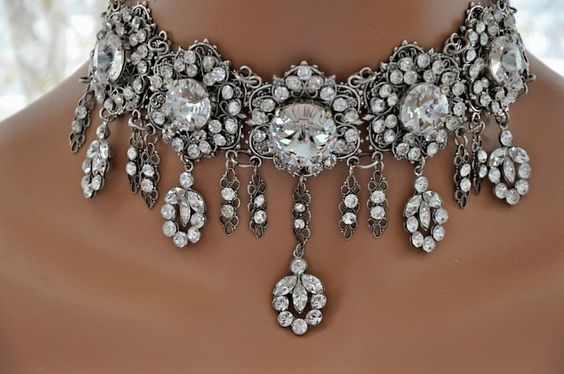 Victorian Wedding Bridal Swarovski Crystal CLEAR Choker Necklace,Rhinestone Choker,Filigree,Antique Silver,Vintage Style,Romantic,Ooak,QUEEN. $589.00, via Etsy.