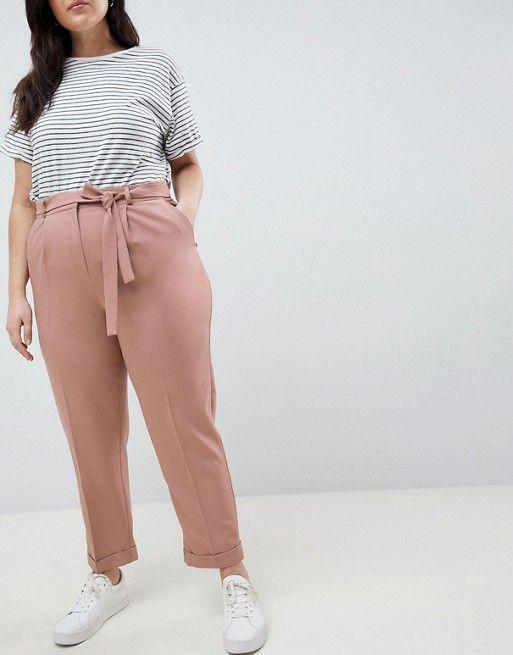ASOS Curve | ASOS DESIGN Curve - Pantalon carotte tissé avec ceinture obi