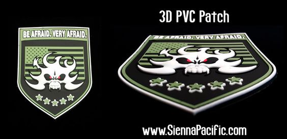 3-Dimensional PVC patch, has 2 or more layers (or levels)  when looked at on a side view, can be perceived as rounded or curvy …