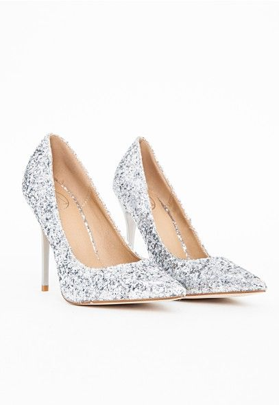 Selena Pointed Toe Court Shoes Silver Glitter - Shoes -High Heels ...