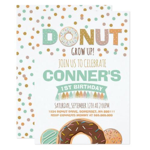 Donut Birthday Invitation Donut Grow Up Party Zazzle Com Grown Up Parties Birthday Invitations Kids Birthday Party Invitations