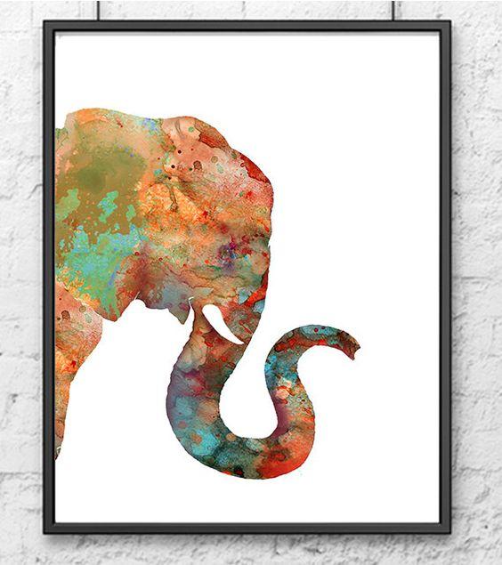 Elephant Art Print, Watercolor Animal Painting, African Animal Art, Elephant…