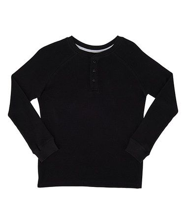 Look at this #zulilyfind! Black Thermal Henley Long-Sleeve Tee - Boys #zulilyfinds