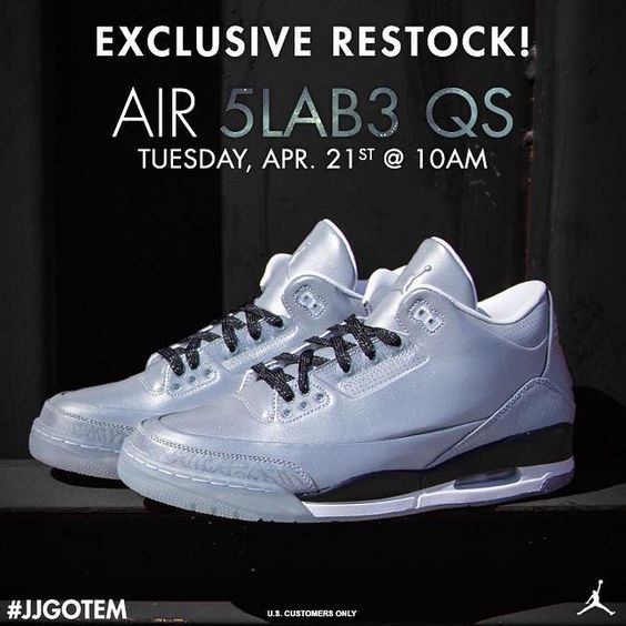 3M Jordan 5LAB3 restock in the morning online at Jimmy Jazz. 10am EDT / 7am PDT.