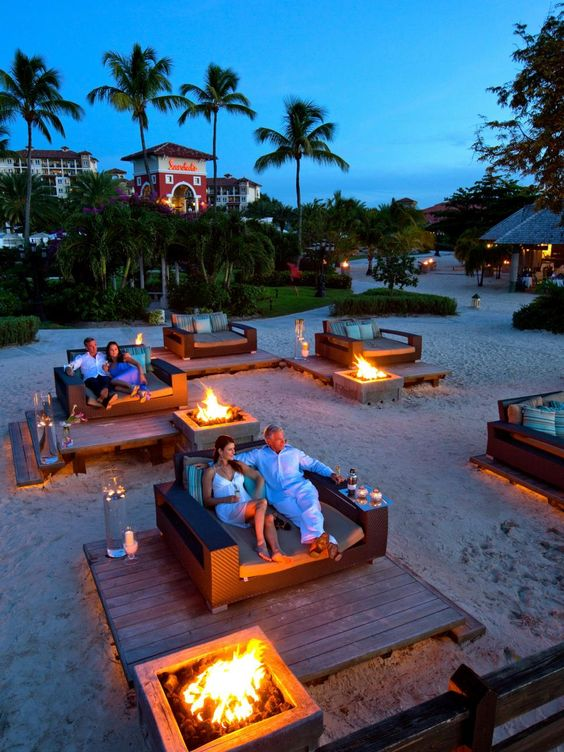 The fire pits at the Sandals Grande Antigua Resort & Spa are little islands of romance unto themselves.: