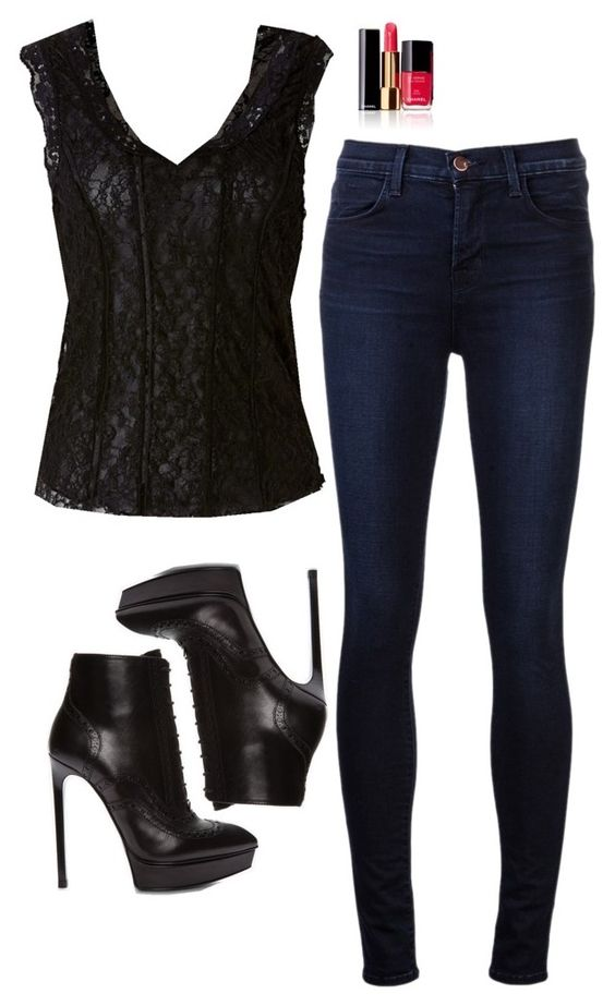 """""""Katherine Pierce Inspired Outfit"""" by daniellakresovic ❤ liked on Polyvore featuring J Brand, Yves Saint Laurent and Chanel"""
