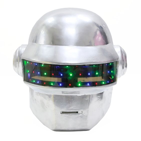 Daft Punk Helmet With Led Lights Remote Control PVC White Full Head Helmet For Adults