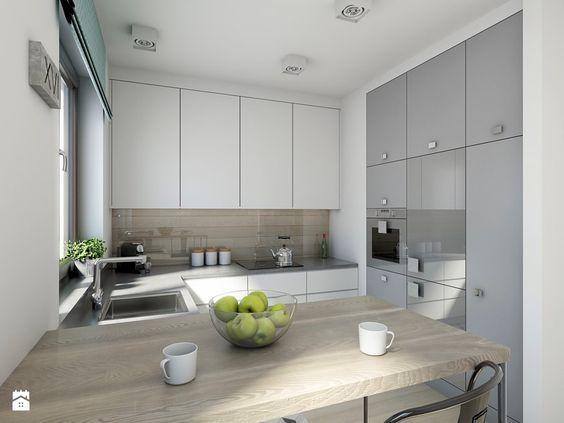 industrialnie na 48m2 - Średnia otwarta kuchnia w kształcie litery - alno küchen trier