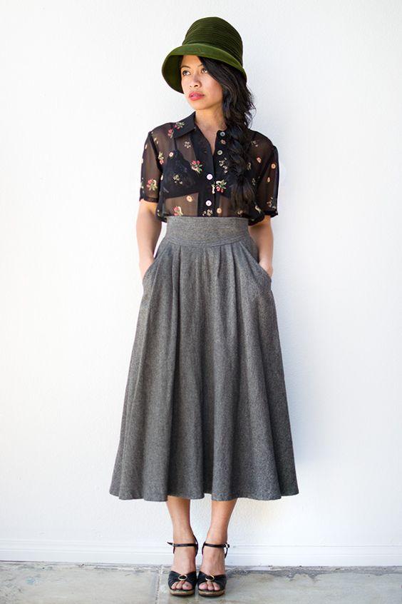 vintage 1970s grey high waist wool skirt   60's & 70's   Pinterest ...