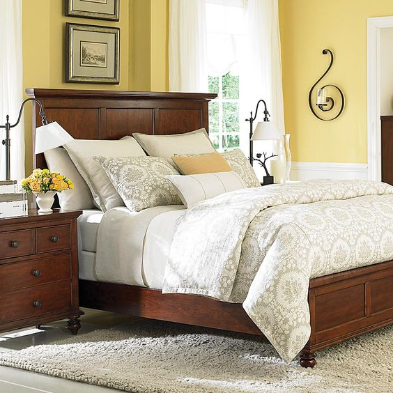 Bedroom Yellow Bedroom Interior With Furniture Egyptian Bedroom Decor Bedroom Carpet Color Ideas: Bedroom Furniture, Bedrooms And Dark Wood Bed Frame On
