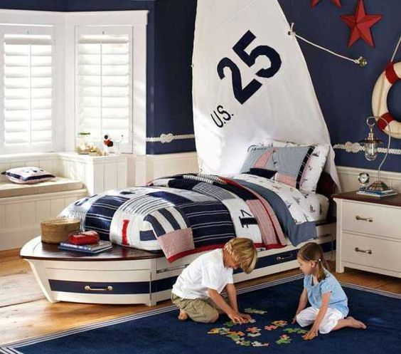 20 Modern Boys Bedroom Ideas Represents Toddler S Personality Kids Nautical Room Nautical Room Kids Room Design