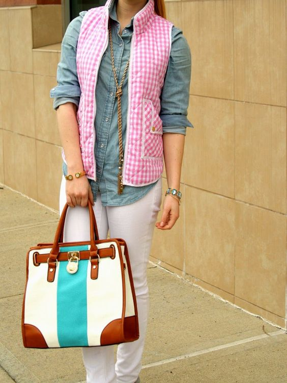 White Denim w/ Pink Gingham Vest
