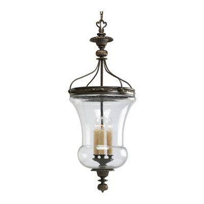 """Three-light+foyer+pendant+with+champagne+drip+glass+candles.+Combines+etched+detailed+columns+and+banding+to+stylized+leaves.+    Includes+15+feet+of+wire+  Includes+6+feet+of+9+gauge+chain+    Canopy+Covers+a+standard+4""""+octagonal+recessed+outlet+box+"""