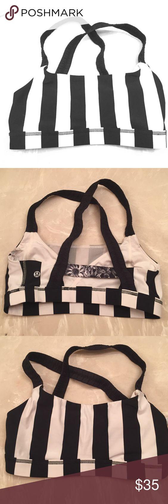 Lululemon sports bra Black and white striped sports bra size 8 lululemon athletica Other