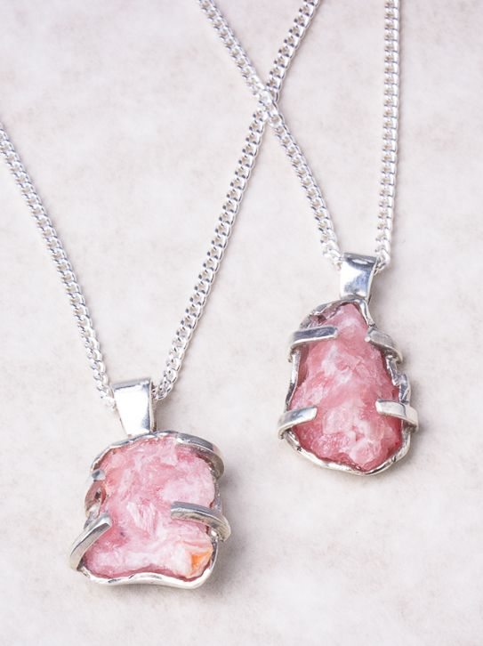 Rhodochrosite and Silver Chain Necklace