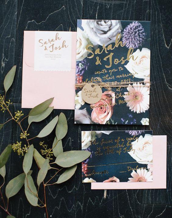 Dark florals + Gold print = A stunning wedding invitation.