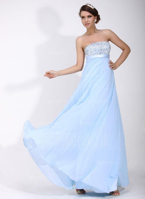 Empire-Linie Trägerlos Bodenlang Chiffon Charmeuse Festliche Kleid mit Rüschen Perlen verziert Pailletten (020016075)
