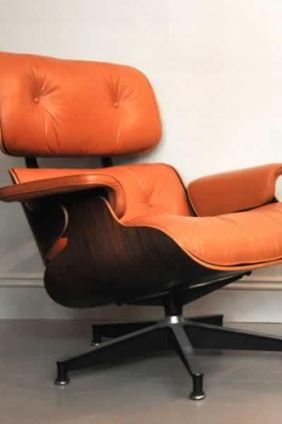 Original tan leather Eames lounger