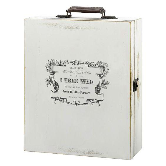 Antique White True Love Wine Box