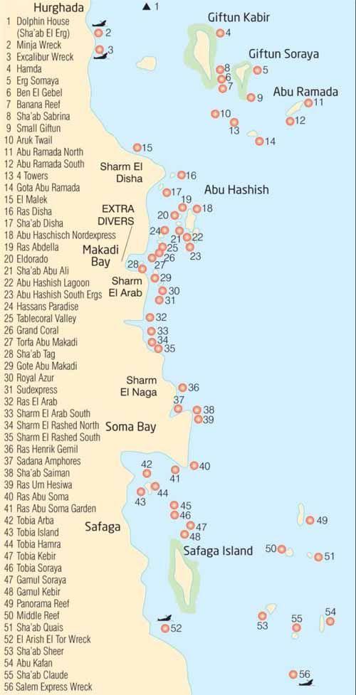 Dive Sites EGYPT Pinterest - Map of egypt beaches