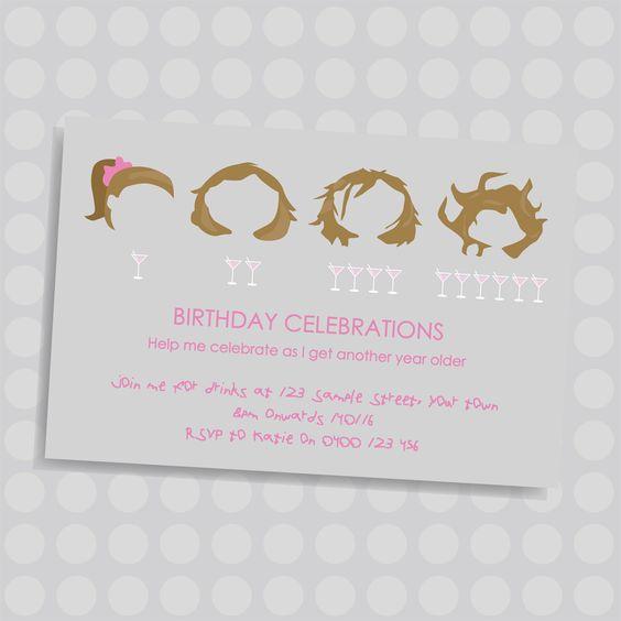 Girls messy hair Adult Personalised birthday invitation by Naomi – Personalised Birthday Invites